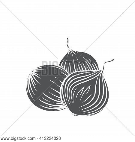 Whole And Half Red Onion Bulbs Glyph Icon, Vector Cut Monochrome Badge. Engraved Illustration Of Pil