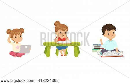 Cute Little Kids With Pile Of Books Studying And Learning Gaining Knowledge Vector Set