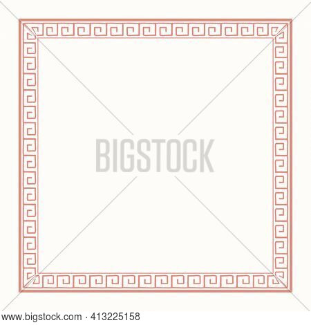 Chinese frame oriental woodblock pattern pink square