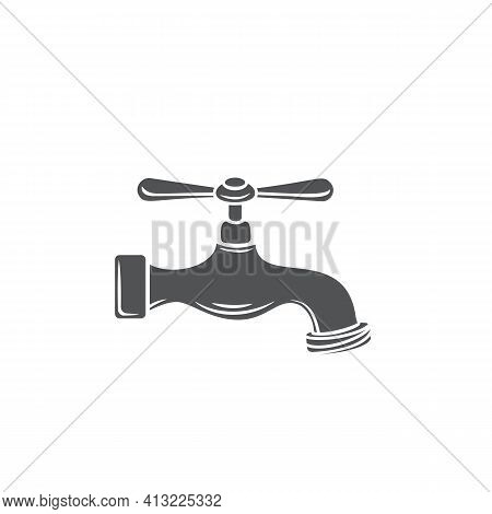 Plumbing Tap Glyph Icon, Vector Cut Monochrome Badge. Plumbing Icon For House Plumbing Promotion Des