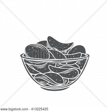 Bowl Of Potato Chips Glyph Icon, Vector Cut Monochrome Badge. Crispy Snack, Potato In The Form Of Cr