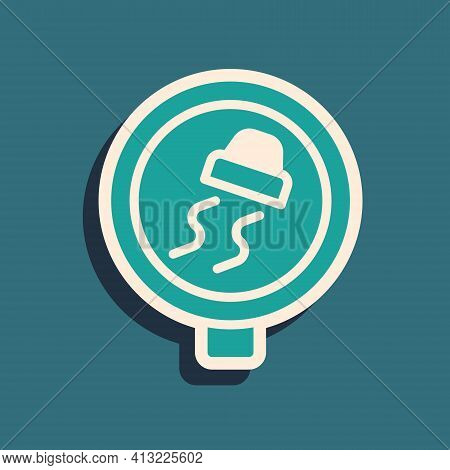 Green Slippery Road Traffic Warning Icon Isolated On Green Background. Traffic Rules And Safe Drivin