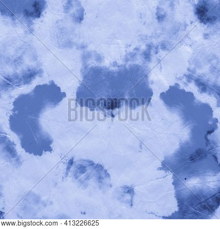 Abstract Aquarelle Texture. Indigo Denim Acrylic Print. Paintbrush Surface. Abstract Watercolour Sta