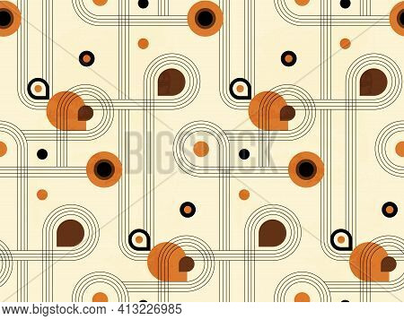 Abstract Geometric Seamless Pattern With Circles And Semicircles In Boho And Minimalism Style In Vec