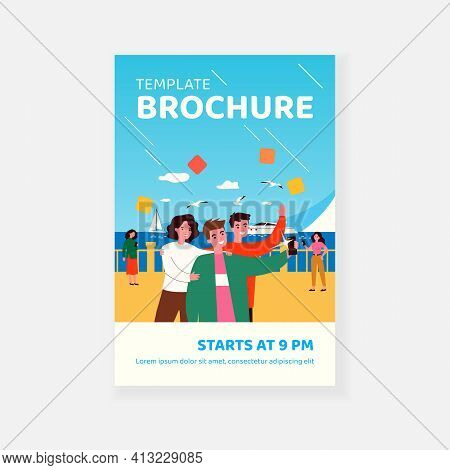 Positive Friends Taking Selfie On Seafront. Smartphone, Yacht, Seagull Flat Vector Illustration. Vac