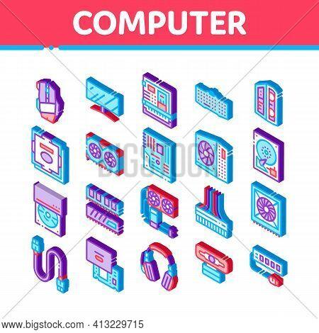 Computer Technology Isometric Icons Set Vector Illustration