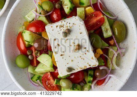 Macro Close Up Of Greek Village Salad Horiatiki With Feta Cheese And Vegetables, Vegeterian Mediterr