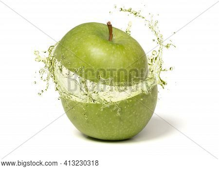 Ripe Juicy Green Apple With Juicy Splash From The Inside, Isolated On White