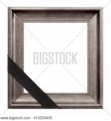 Silver Frame With Black Mourning Ribbon For Paintings, Mirrors Or Photo Isolated On White Background