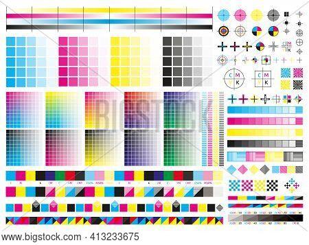 Color Cmyk Management Elements. Offset Print Registration Plates, Gradient, Cmyk Color Mixing Panel.