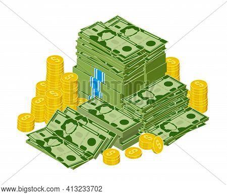 Dollar Bills Pile. Stacked Money, Green Dollar Cash And Gold Coins, Money Finance Success. Heap Doll