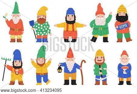 Cute Garden Gnomes. Dwarf Characters With Lantern, Flowers And Mushroom, Fairy Tale Mascots. Funny G