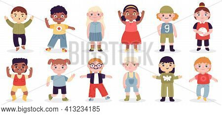 Multicultural Happy Kids. School Girls And Boys Group, Diverse Kids Characters, Cute Laughing Childr