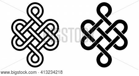 Mystical Knot Of Longevity And Health, Feng Shui Luck Sign, Vector Infinity Knot, Tattoo Of The Symb