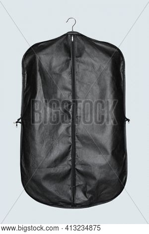 Black garment bag for suit storage and protection