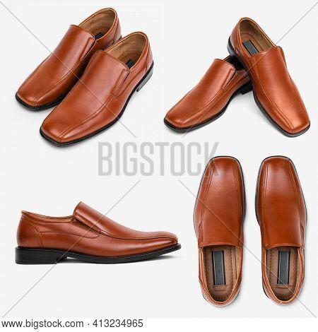 Brown leather slip-on men's shoes fashion set