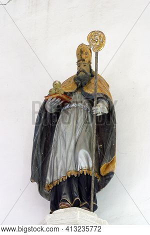 OSTARIJE, CROATIA - JULY 14, 2013: St. Nicholas, a statue in the parish church of Our Lady of Miracles in Ostarije, Croatia
