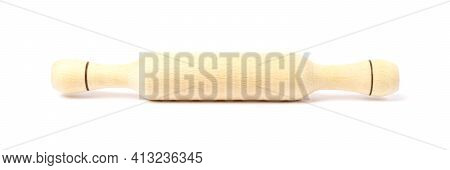 Baking Rolling Pin On White Background. Wooden Rolling Pin Isolate