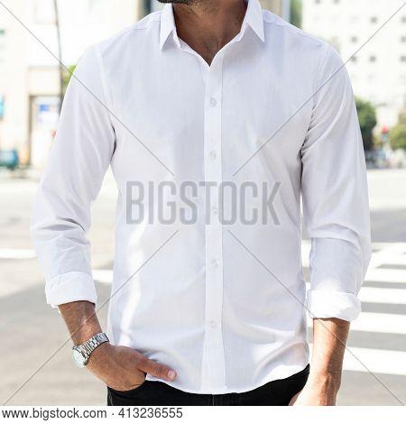 Business casual shirt white closeup outdoor photoshoot