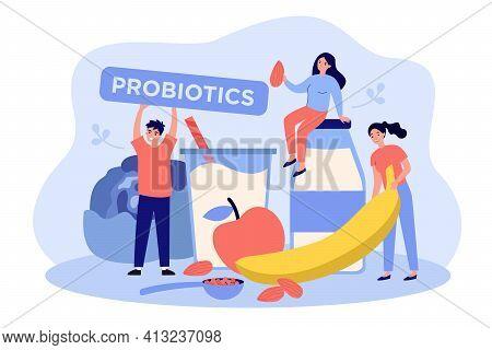 Man And Women Tiny People With Probiotics Food. Kefir, Yogurt, Apple, Banana Fruit Flat Vector Illus