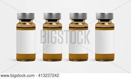 Amber injection vial glass bottle with blank white label