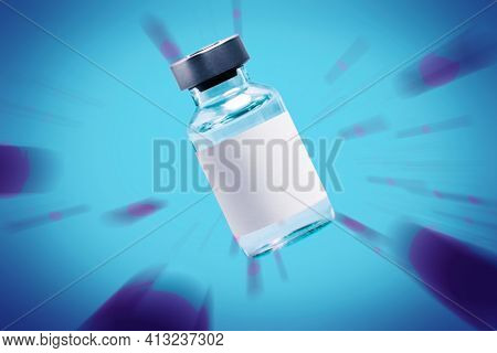 Vaccine vial with a needle syringe