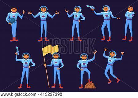 Funny Aliens Men In Blue Spacesuits Set. Cute Futuristic Humanoid Astronauts Galaxy Invaders Cartoon