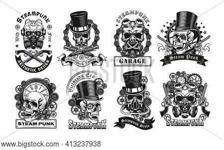 Vintage Badges With Steampunk Skull Vector Illustration Set. Monochrome Labels With Dead Head In Ret