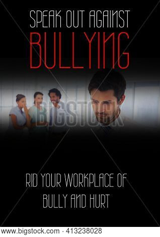 Speak out against bullying text against office colleagues bullying a man at office. combating bullying template design concept