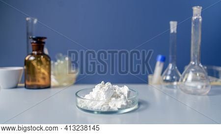 Whey Protein Isolate. Sport Nutrition Supplement In Chemical Lab.
