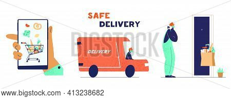Quarantine Covid-19 Safe Contactless Delivery Service Set. Ordering Food Online, Delivery Van With D