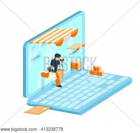 Vector Isometric E-commerce Concept. Online Shopping Concept. Man With Purchases Walks Out From Lapt