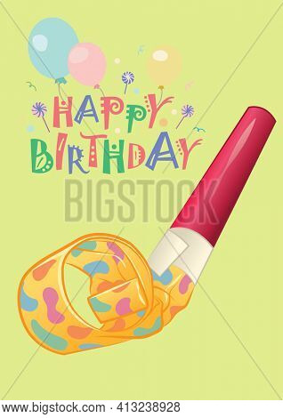 Digitally generated image of happy birthday text against birthday blowers and balloons. birthday template design concept
