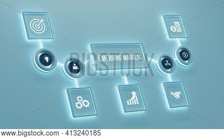Internet, Business, Technology And Network Concept. Emerging Markets. 3d Illusration