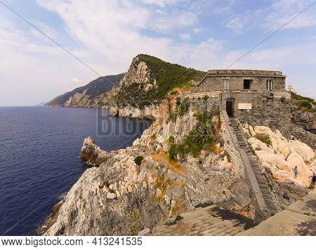 Liguria, Italy - June 15, 2020: Travelling Around The Ligurian Seaside. Panoramic View To The Seasid