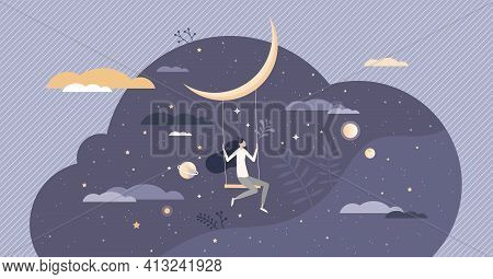 Dreaming With Sweet Night Dreams As Bedtime Relax Sleep Tiny Person Concept