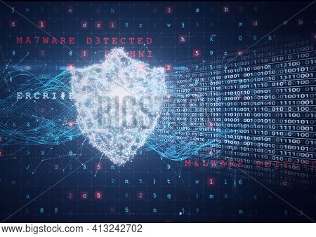 Composition of binary coding and cyber attack warning text over online security shield. online security cyber attack concept digitally generated image.