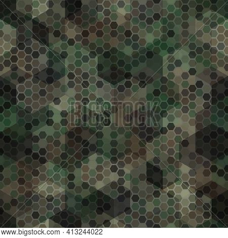 Texture Military Brown And Tan Colors Forest Camouflage Seamless Pattern