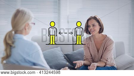 Illustration of two people silhouettes maintaining distance over two women talking. covid 19 pandemic and social distancing concept digitally generated image.