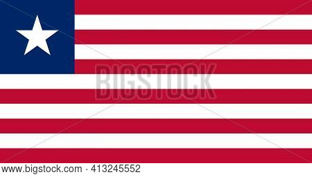 National Flag Of Liberia In The Original Size,colours And Proportions(10:19)