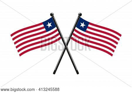 National Flags Of Liberia Crossed,  In The Original Colours On The Sticks