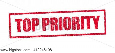 Vector Illustration Of The Top Priority In Red Ink Stamp