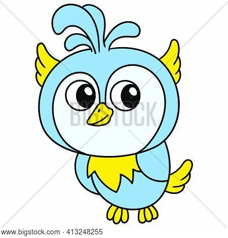 The Young Owl Is Glancing, Doodle Icon Image. Cartoon Caharacter Cute Doodle Draw