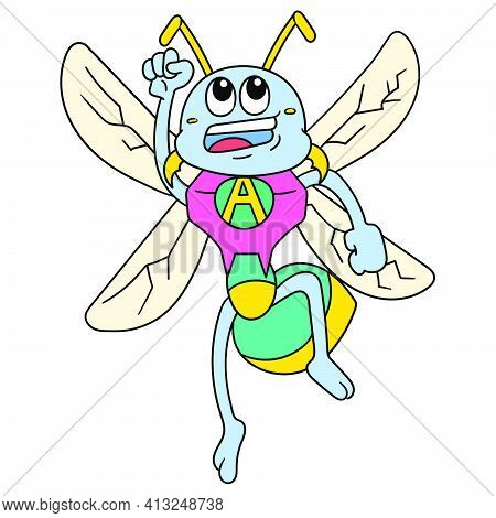 Flying Bee Insect Superhero Drift, Doodle Icon Image. Cartoon Caharacter Cute Doodle Draw
