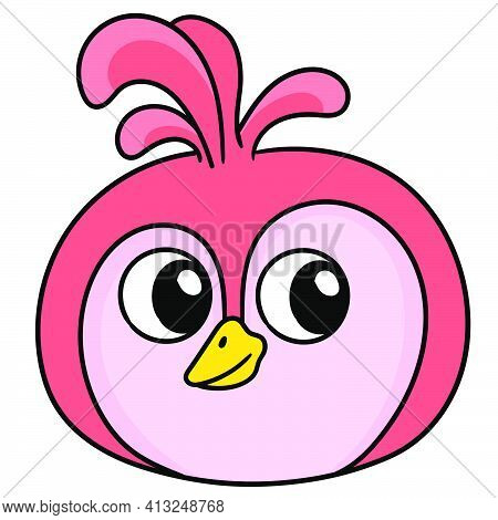 Head Emoticon With Funny Face And Glancing Eyes, Doodle Icon Image. Cartoon Caharacter Cute Doodle D