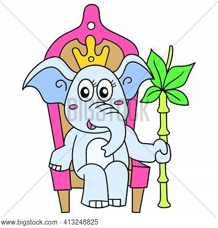 The Queen Female Elephant Sits On A Throne Chair, Doodle Icon Image. Cartoon Caharacter Cute Doodle