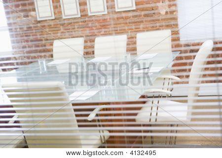Empty Boardroom Through A Window