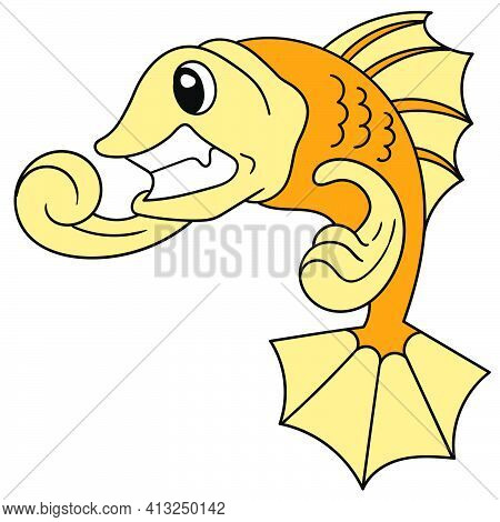 Cartoon Goldfish Is Angry, Doodle Icon Image. Cartoon Caharacter Cute Doodle Draw