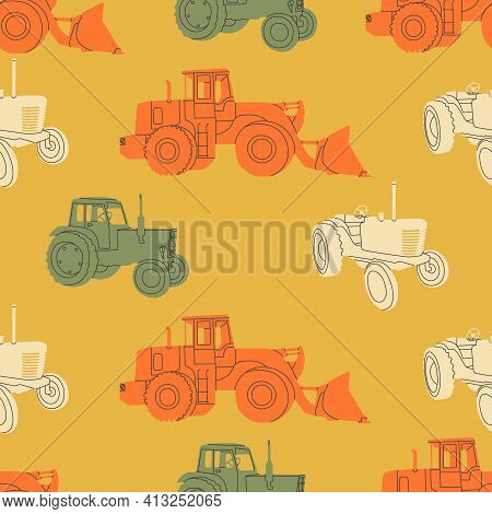 Vector Seamless Pattern Of Agricultural Tractor Or Harvester. Simple, Flat, Retro Style. Typical Equ