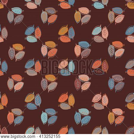 Autumn Leaves Seamless Vector Pattern Background. Trio Groups Of Hand Drawn Blue Orange Leaves In Fa